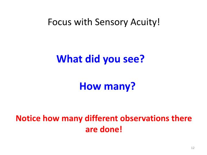 Focus with Sensory Acuity!