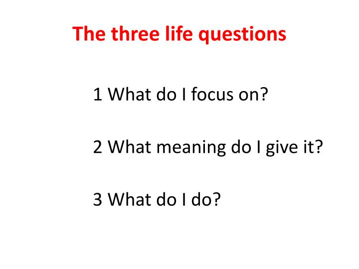 The three life questions