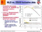 nlo vs zeus inclusive jets