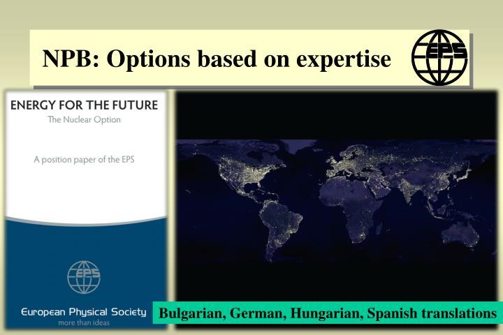NPB: Options based on expertise