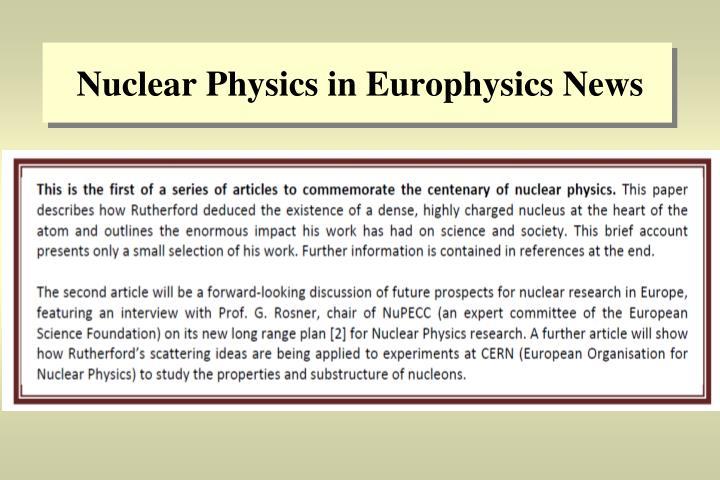 Nuclear Physics in Europhysics News