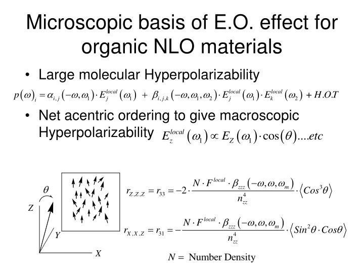 Microscopic basis of E.O. effect for organic NLO materials