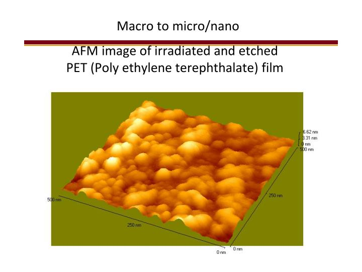 AFM image of irradiated and etched