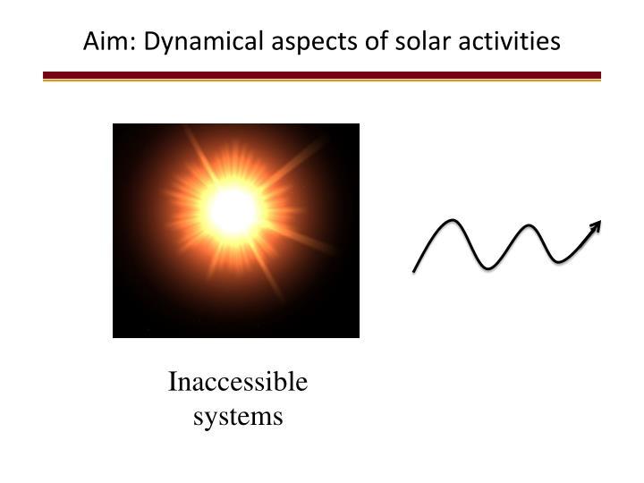 Aim: Dynamical aspects of solar activities