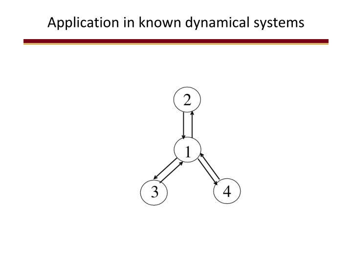 Application in known dynamical systems