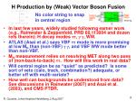 h production by weak vector boson fusion
