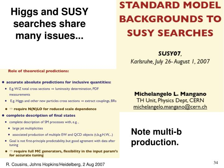 Higgs and SUSY searches share many issues...