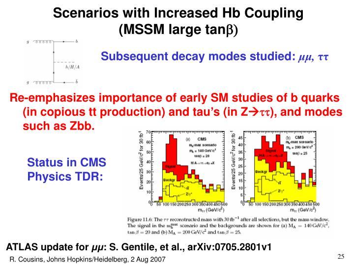 Scenarios with Increased Hb Coupling         (MSSM large tan