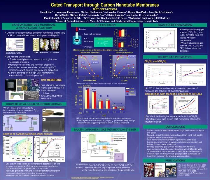 gated transport through carbon nanotube membranes nirt cbet 0709090