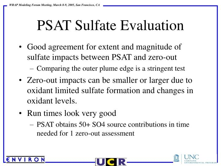 Good agreement for extent and magnitude of sulfate impacts between PSAT and zero-out