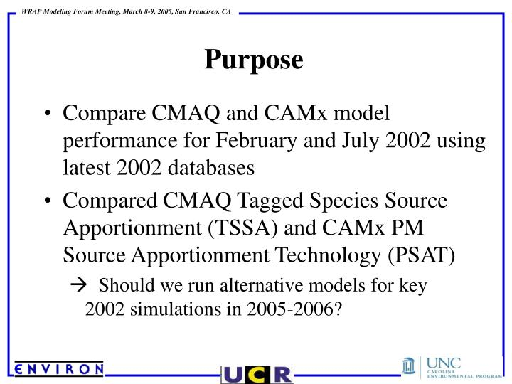 Compare CMAQ and CAMx model performance for February and July 2002 using latest 2002 databases