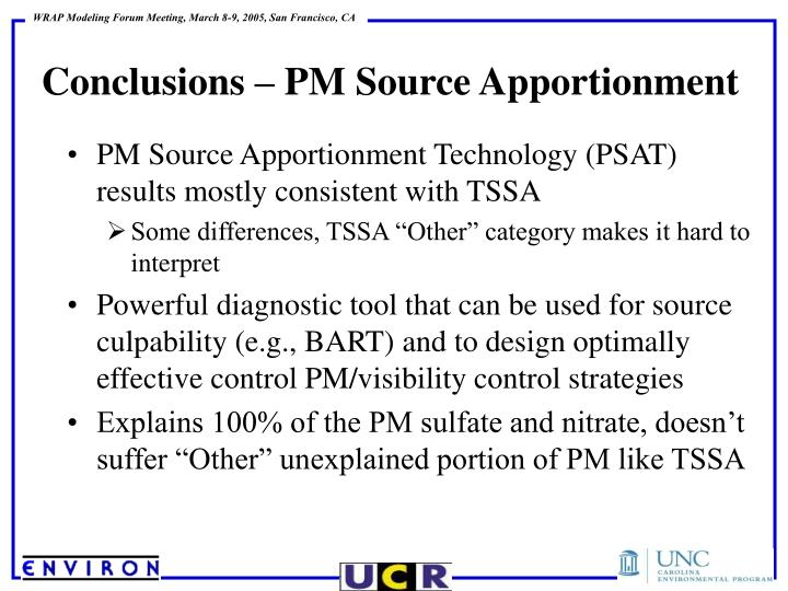 Conclusions – PM Source Apportionment
