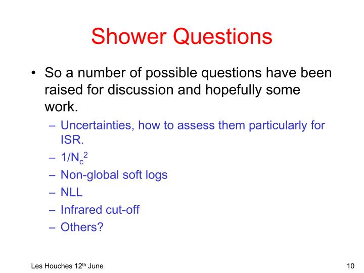 Shower Questions