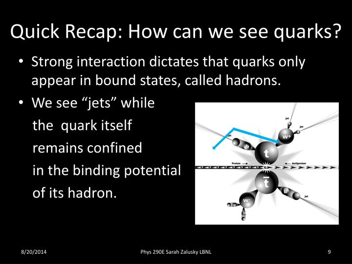 Quick Recap: How can we see quarks?