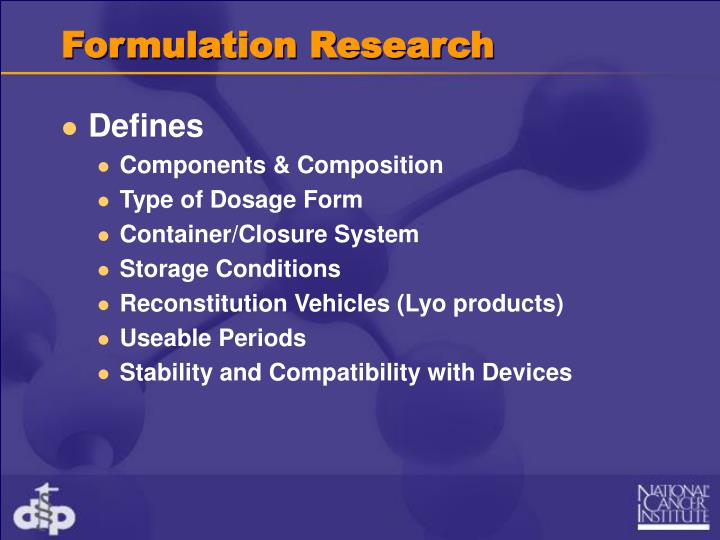 Formulation Research