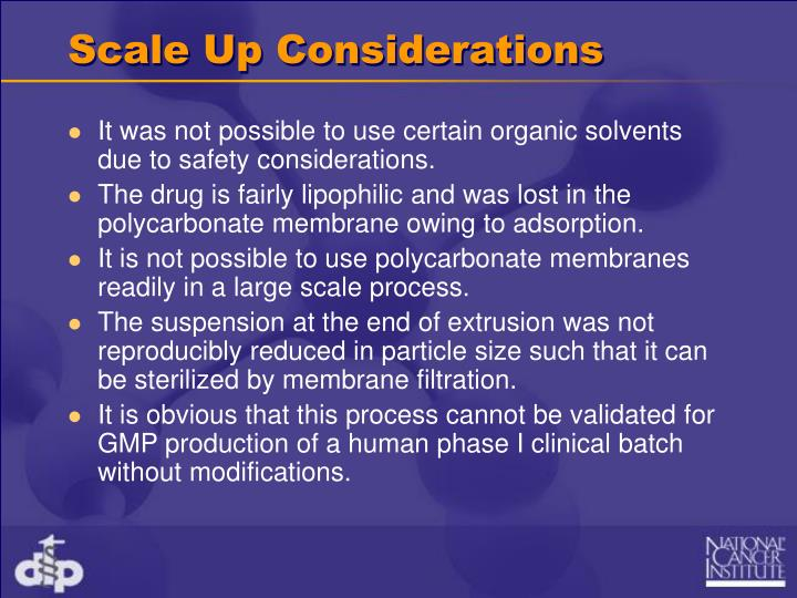 Scale Up Considerations