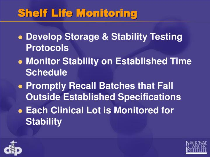 Shelf Life Monitoring