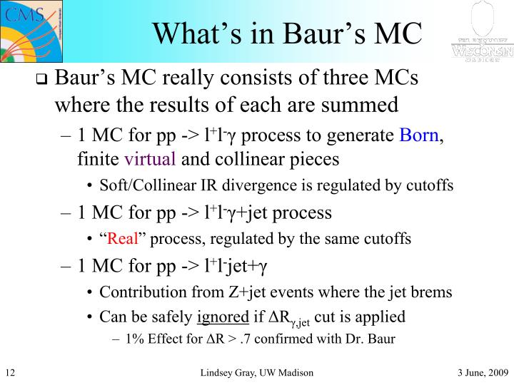What's in Baur's MC