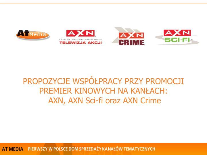 propozycje wsp pracy przy promocji premier kinowych na kan ach axn axn sci fi oraz axn crime