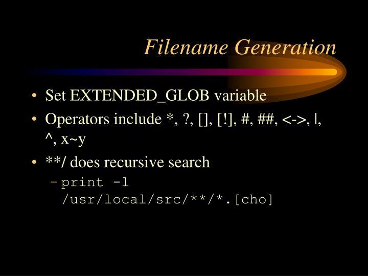 Filename Generation
