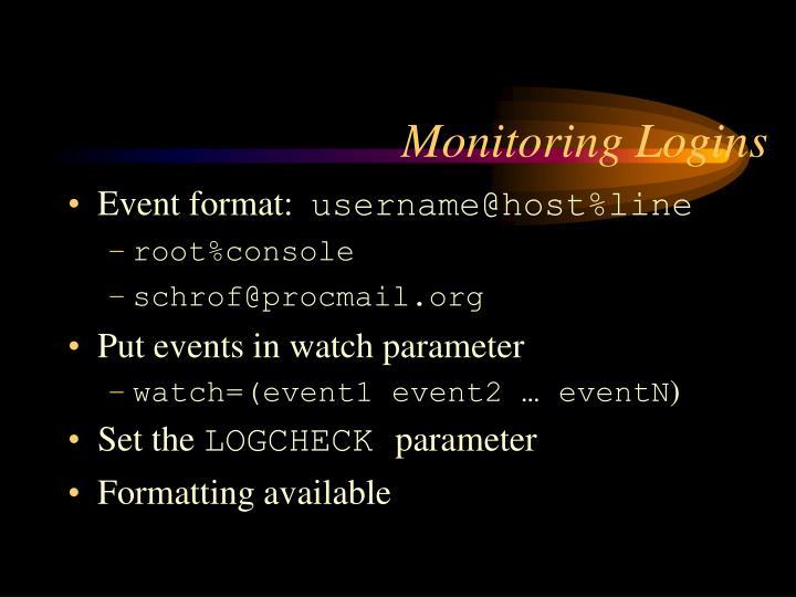 Monitoring Logins