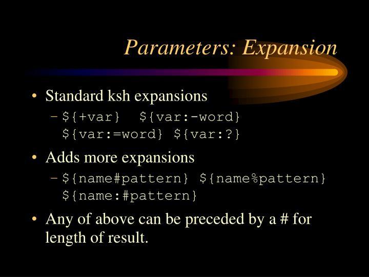 Parameters: Expansion