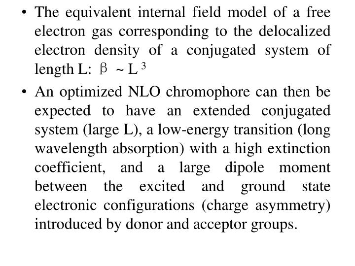 The equivalent internal field model of a free electron gas corresponding to the delocalized  electron density of a conjugated system of length L: