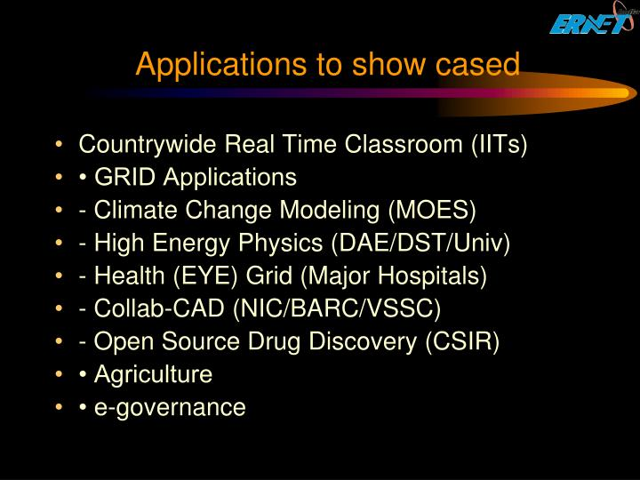 Applications to show cased