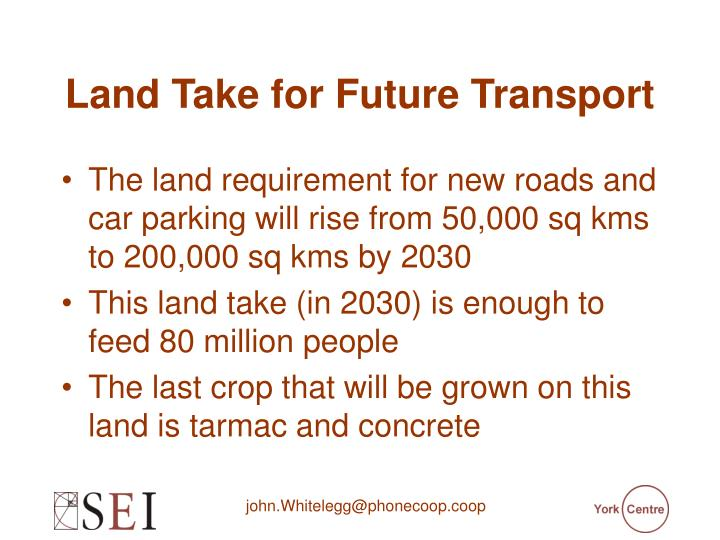 Land Take for Future Transport