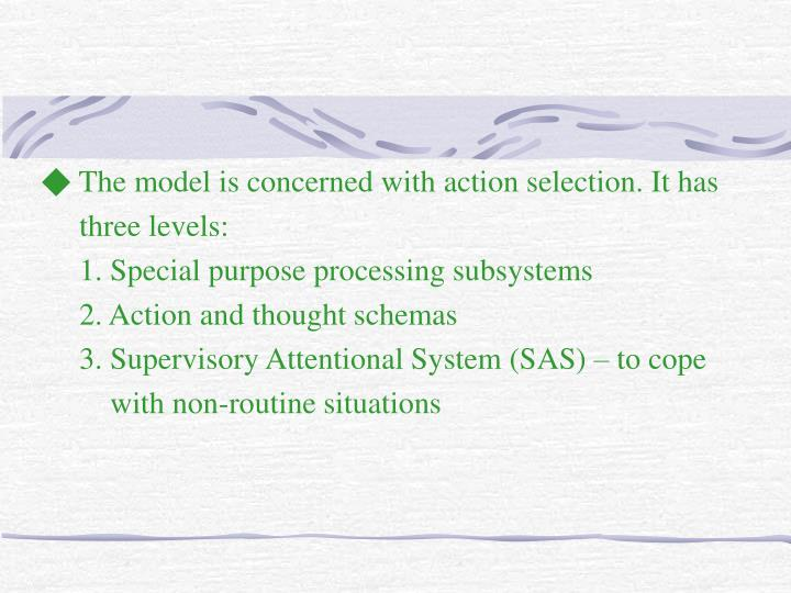 ◆ The model is concerned with action selection. It has