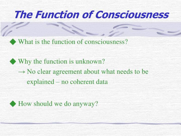 ◆ What is the function of consciousness?