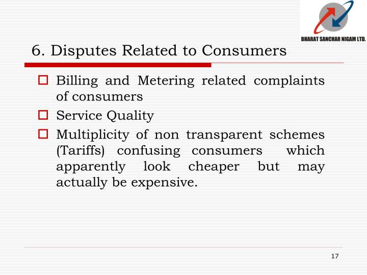 6. Disputes Related to Consumers