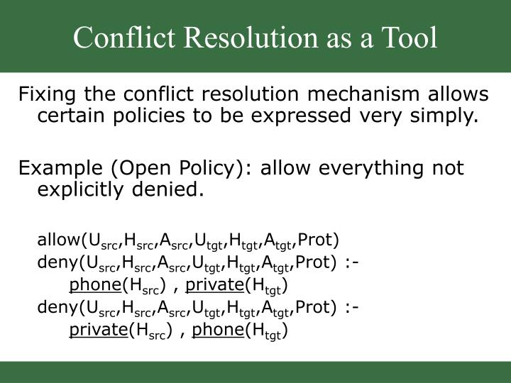 Conflict Resolution as a Tool
