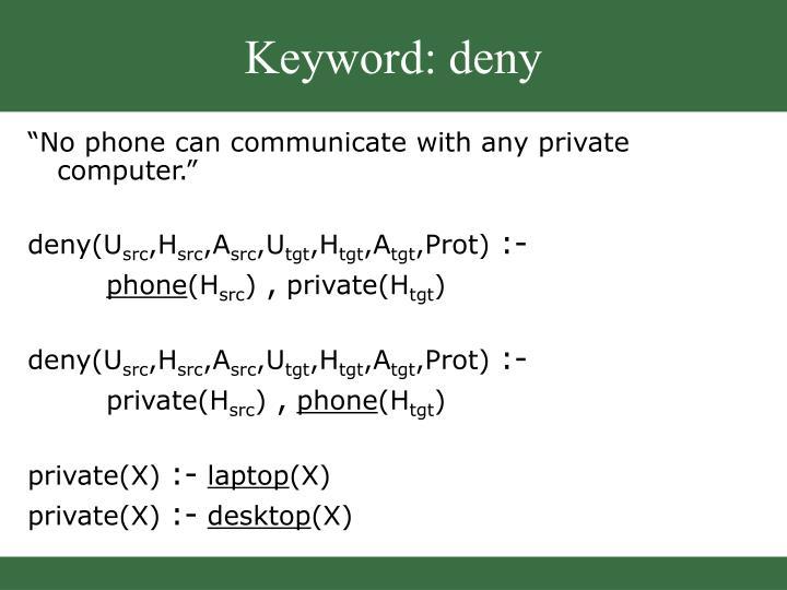 Keyword: deny