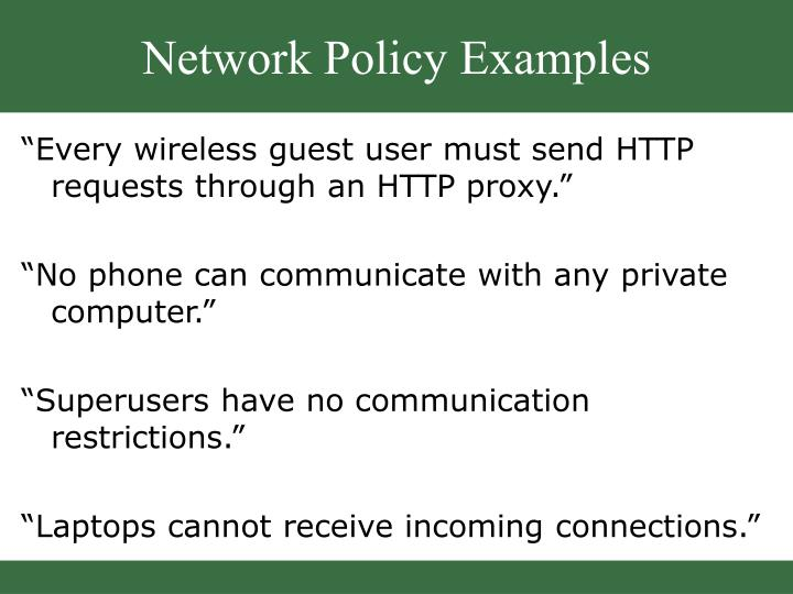 Network Policy Examples