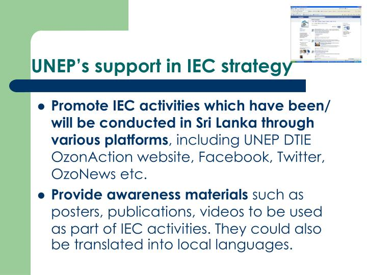 UNEP's support in IEC strategy
