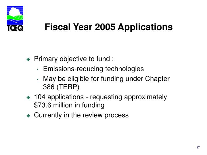 Fiscal Year 2005 Applications