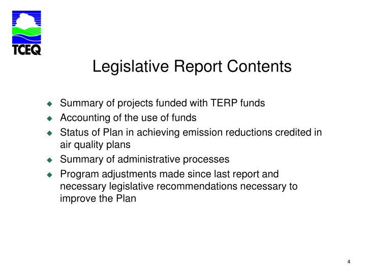 Legislative Report Contents