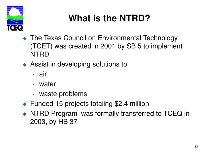 What is the NTRD?