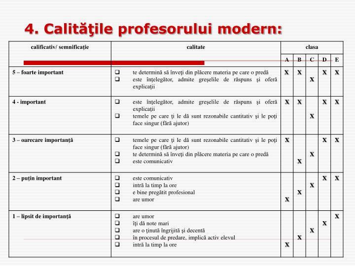 4. Calităţile profesorului modern: