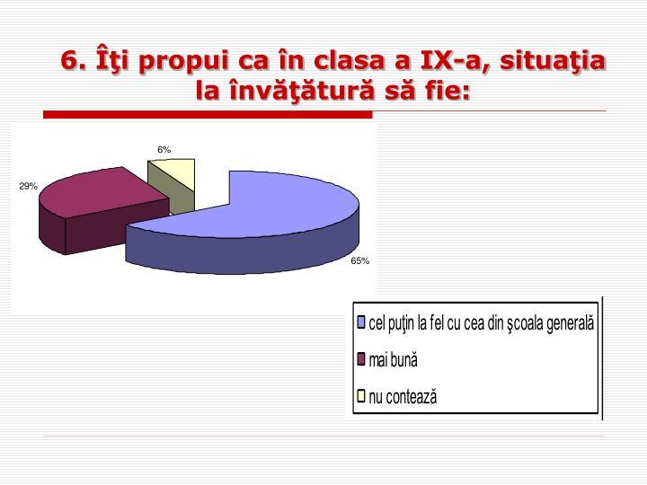 6. Îţi propui ca în clasa a IX-a, situaţia la învăţătură să fie: