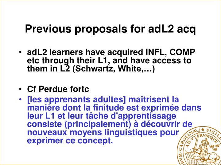 Previous proposals for adL2 acq