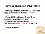 previous studies on chl2 french