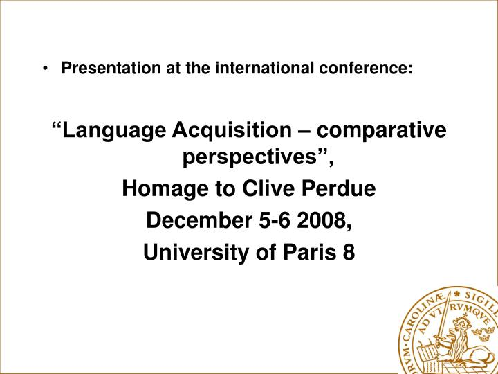 Presentation at the international conference: