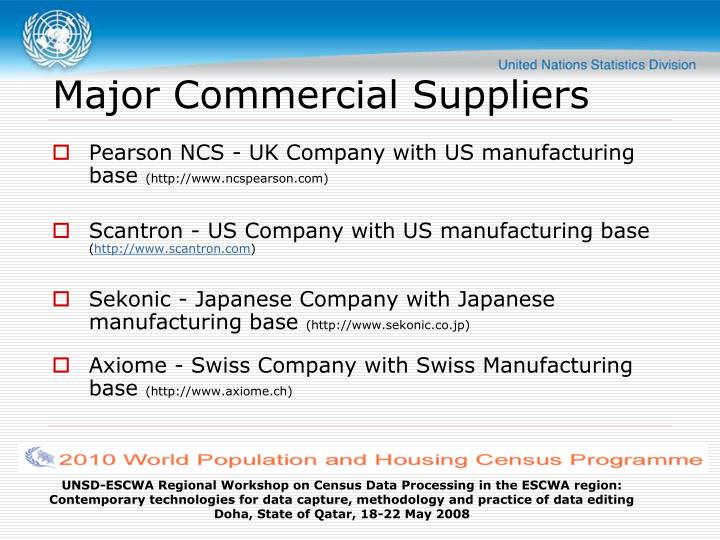 Major Commercial Suppliers