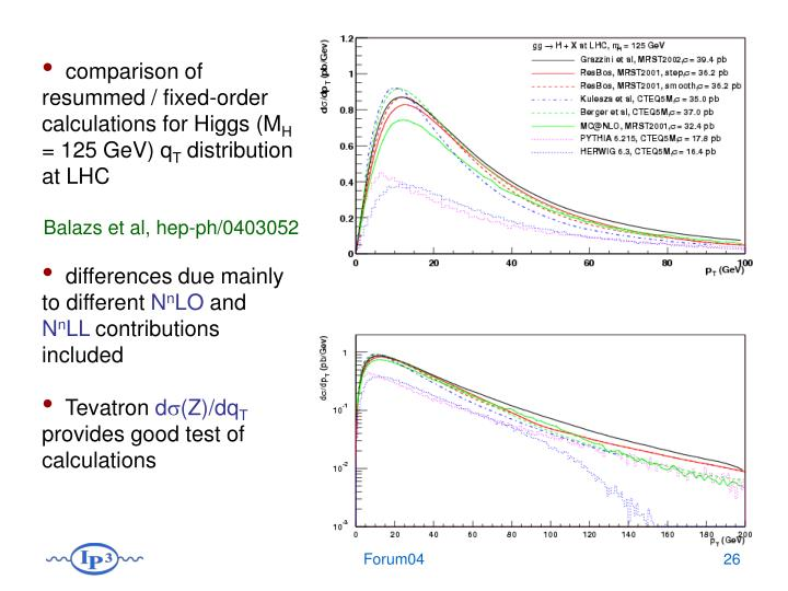 comparison of resummed / fixed-order calculations for Higgs (M