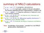 summary of nnlo calculations
