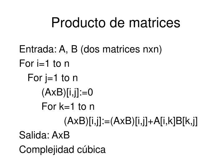 Producto de matrices