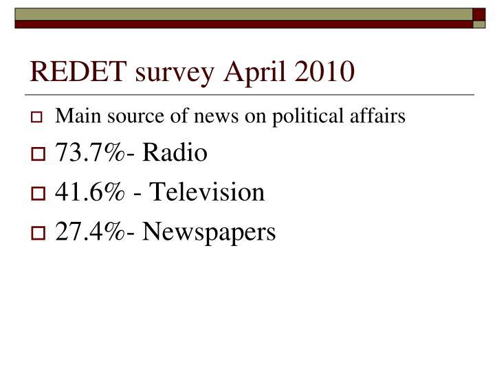 REDET survey April 2010