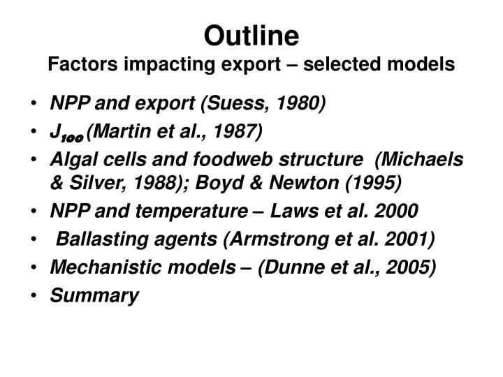 Outline factors impacting export selected models